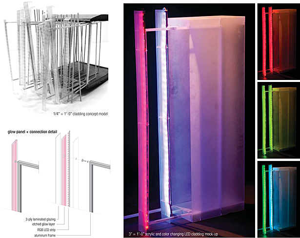 cladding details - acrylic/color changing LED mock-up (48