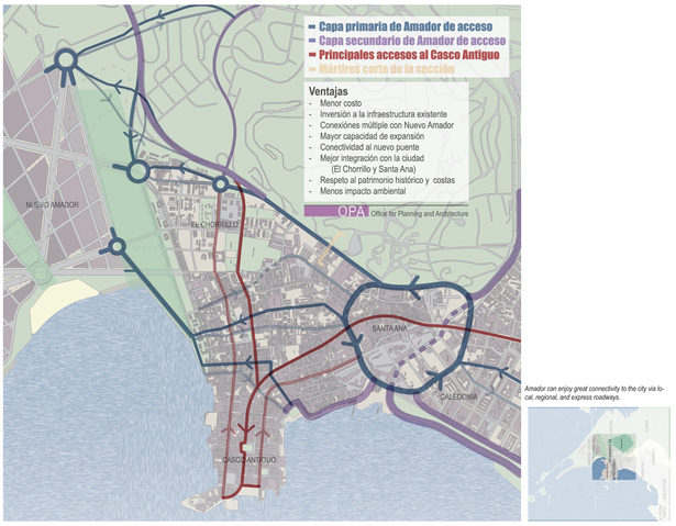 Proposed circulation routes for major traffic behind the city and a distribution cirlce to feed smaller arteries.