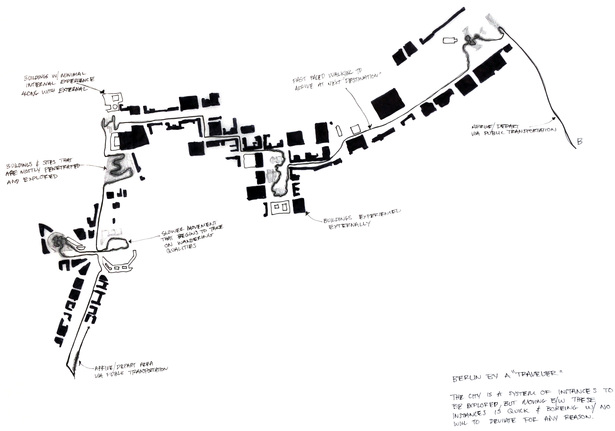Sketch: movement through the city and site
