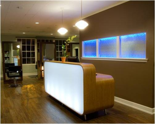 Once inside the clients are greeted with a custom designed reception desk.