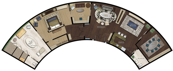 Premiere Suite Rendered Floor Plan.