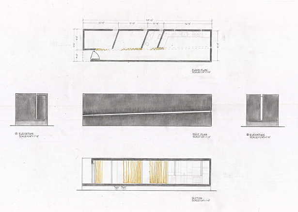 Plan, section and elevation drawings