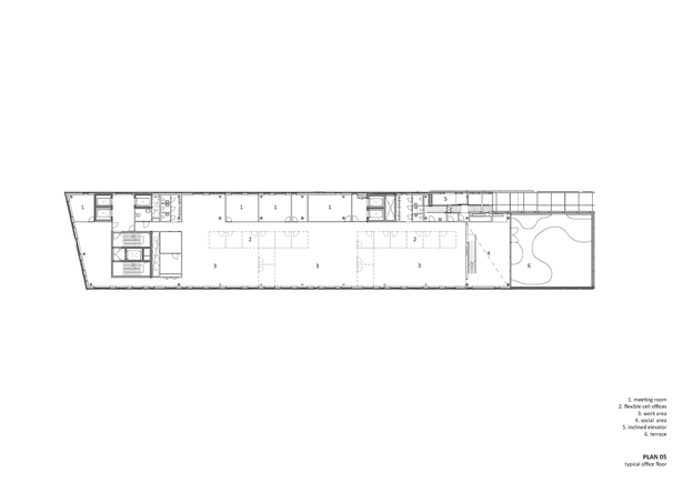 Plan 05/Typical office floor. Copyright © Dark Arkitekter