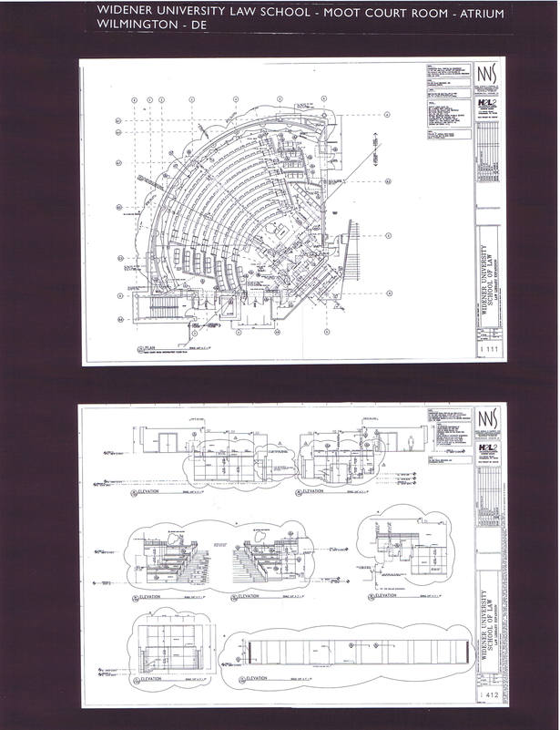 Moot Court Room Plan and Interior Elevations