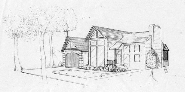 Two point perspective exterior of my design proposal, pen on paper, 8.5