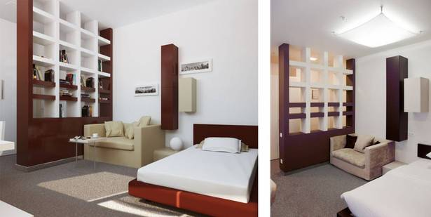 Typical hostel room, 3d visualisation and photo