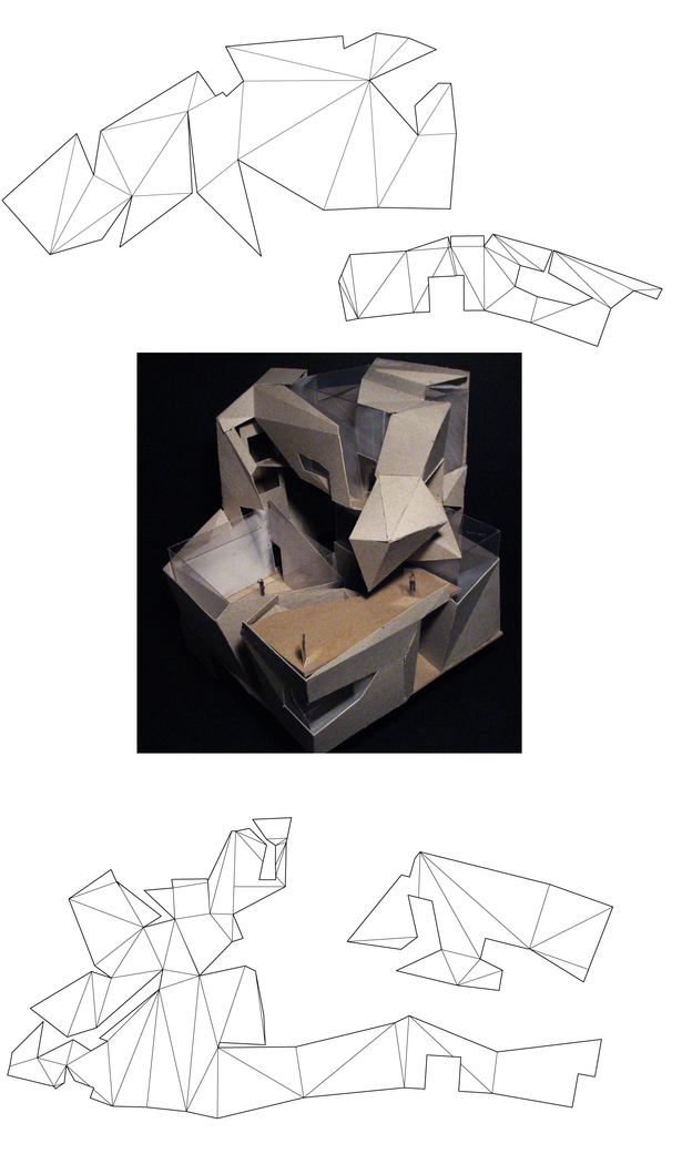 building model (chipboard, styrene) and model templates (Rhino 3D, Adobe Illustrator)