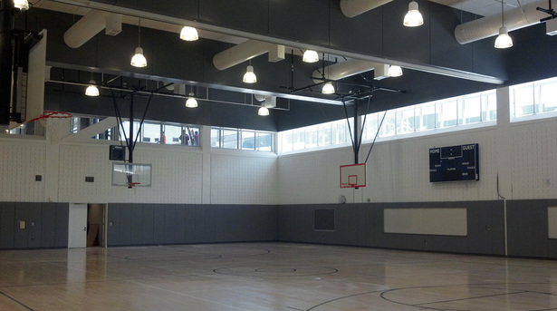 View of Gymnasium with clerestory windows providing street views