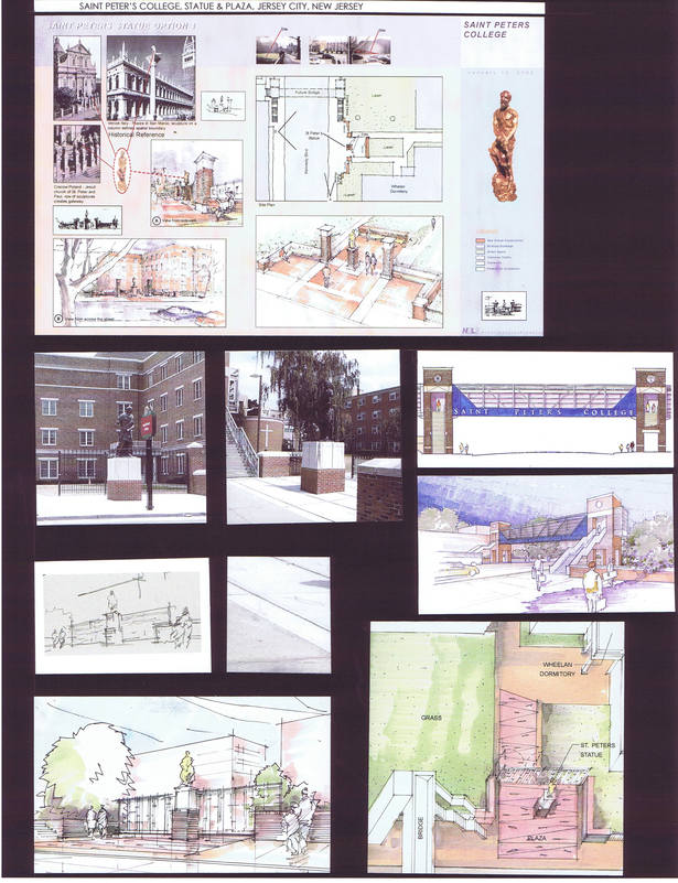 Sketches and photos of built plaza and statue