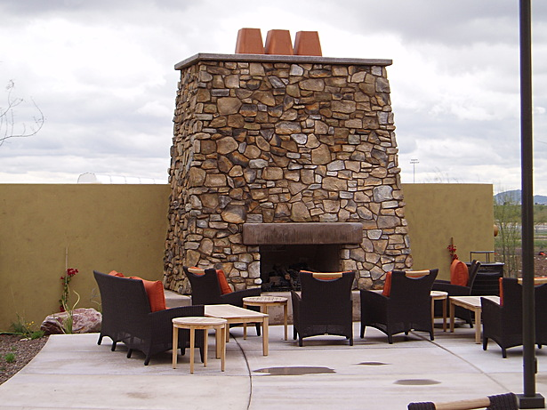 example of outdoor seating w/ fireplace