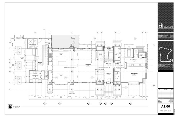Karr Residence. Construction Drawings. Main Floor.
