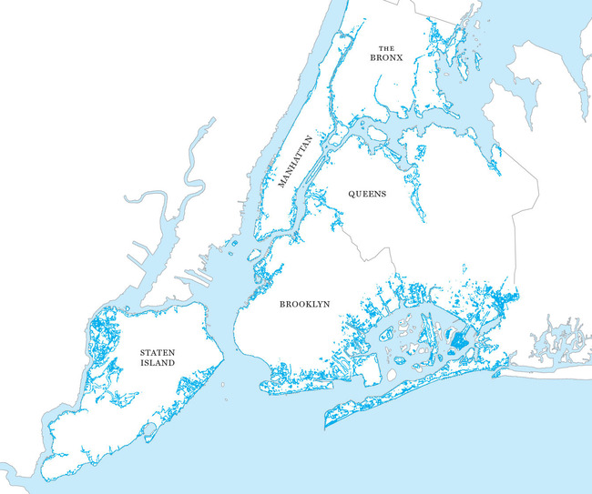 Underwater Coastline: By 2100, sea levels could rise as much as six feet, covering large areas of the city (marked in blue). Illustration: Jason Lee