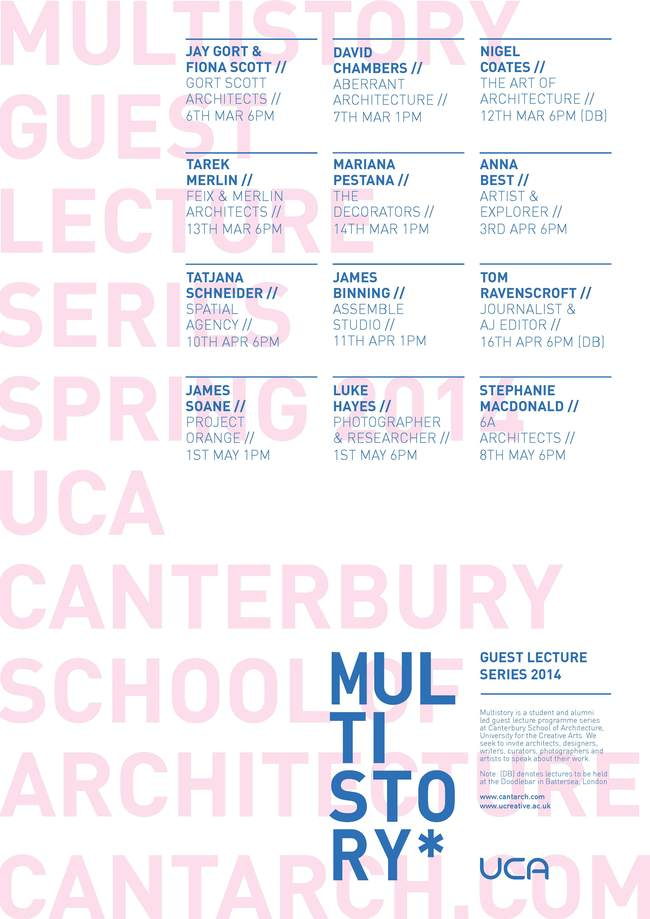 Multistory Spring '14 Lecture Series at the UCA Canterbury School of Architecture. Image via cantarch.com.