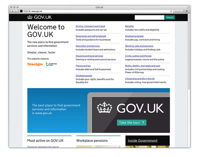 Digital Category Winner: GOV.UK WEBSITE, Designed by Government Digital Service