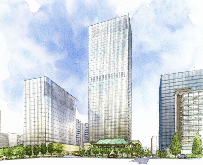 Rendering of the new Hotel Okura, scheduled to reopen in 2019. (Image via japantoday.com)