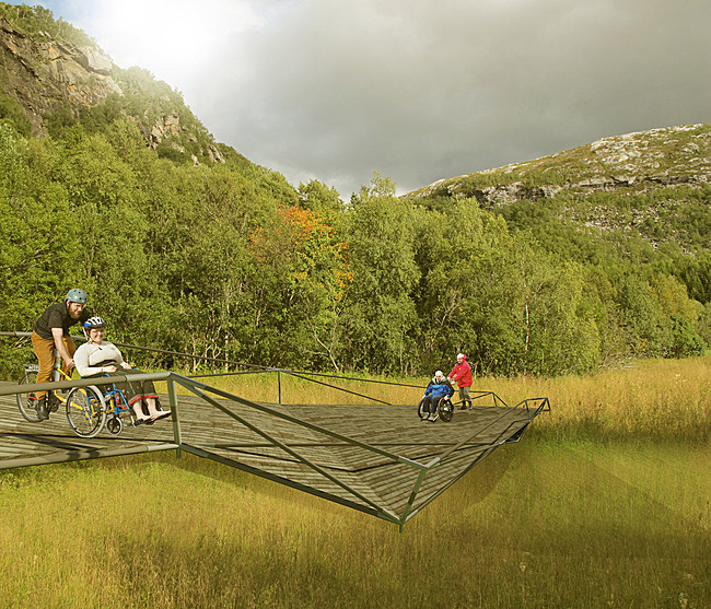 Bridge in vulnerable nature (Image: Eriksen Skajaa Architects)