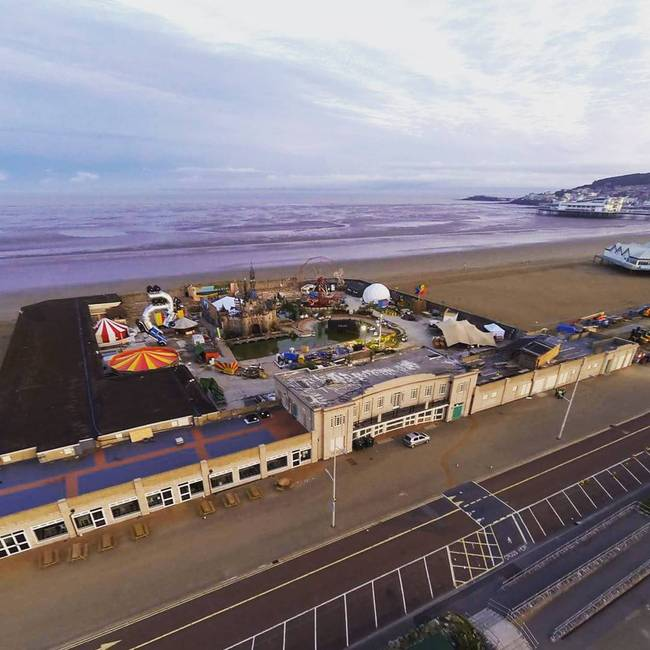 Aerial view of Banky's Dismaland which closed its doors yesterday in the British seaside resort of Weston-super-Mare. (Photo: Iain Brimecome & Jon Goff, image via streetartnews.net.)