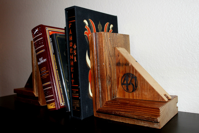 Bookends made from wood salvaged from Ray Bradbury's Cheviot Hills home by The ReUse People. Image via ReUse.