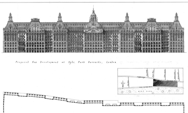 Quinlan and Francis Terry's 'groundscraper' design for Hyde Park barracks as apartment blocks. (via theguardian.com; Image: Quinlan and Francis Terry)