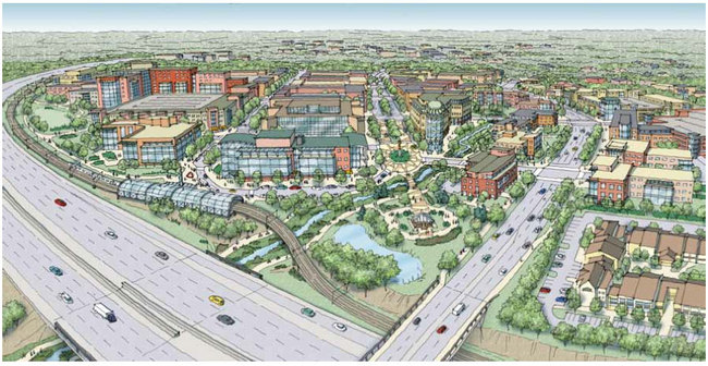 Master Plan Rendering for Redeveloping Dublin, Ohio