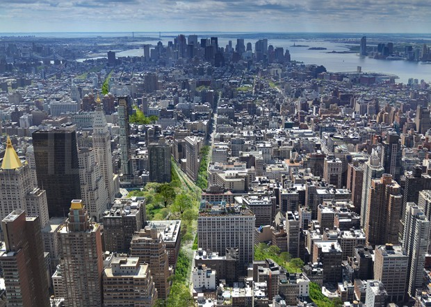 "Illustration of Perkins Eastman's proposal of a ""Green Line"" park cutting straight through Manhattan. (Image via citylab.com)"