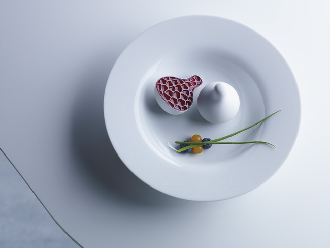 3D printed, Yogurt Plum from Philips Design Probes as an exploration on the future of food and how we may source, produce and consume food in the future. © Philips. Image courtesy of AA Visiting School,