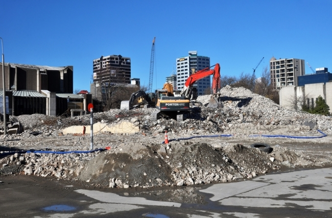 Much of Christchurch's central business district was severely damaged by the February 22, 2011 earthquake. Hundreds of buildings have been demolished, including most high-rise office buildings and hotels. (Citiscope; Photo: Nigel Spiers/Shutterstock)