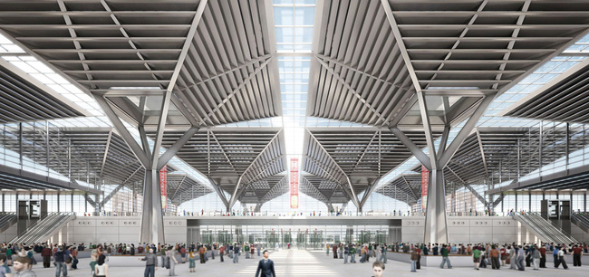 Entrance hall with view on the main central thoroughfare (Image: gmp · von Gerkan, Marg and Partners · Architects)