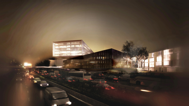 The Beam, view from the highway (Image courtesy of MVRDV)