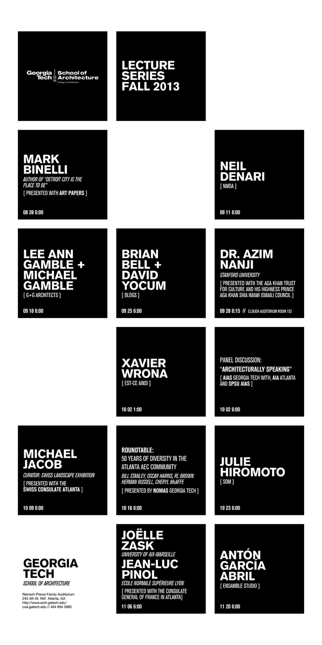 Poster for the Fall '13 Lecture Series at the Georgia Tech School of Architecture. Image courtesy of Georgia Tech.