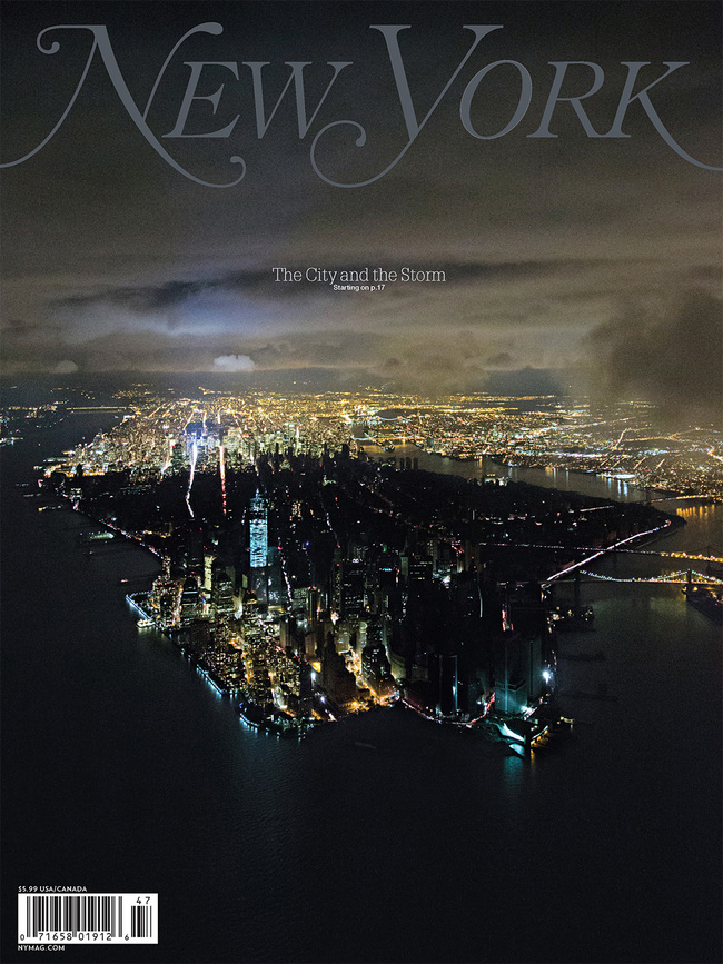 "ASME Cover of the Year: ""The City and the Storm"" November 12, 2012, issue of New York Magazine, photographed by Iwan Baan"