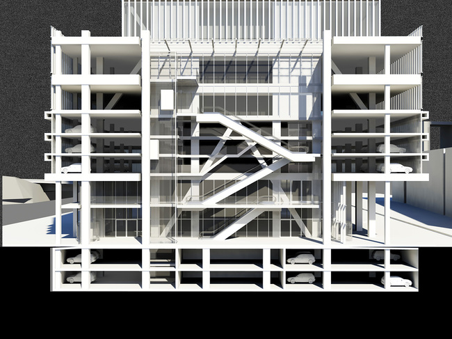 Perspective - Atrium Section. © OMA