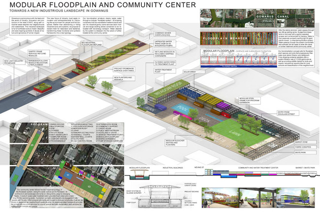Honorable Mention: Modular Floodplain and Community Center Pilot Projects: Scott Francisco, James Wilson, Drew Powers; New York, New York