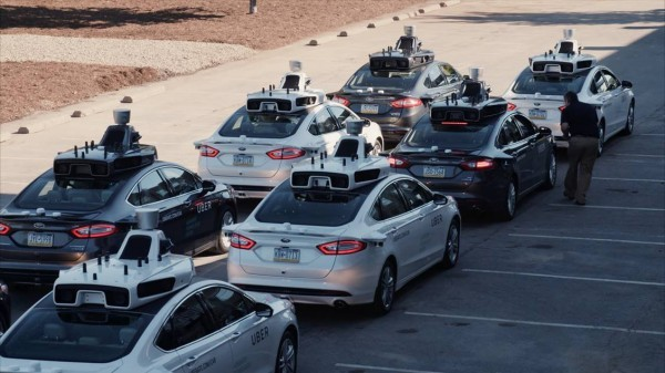 Uber's fleet of automated taxis. Image via technologyreview.com