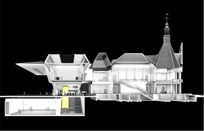 Benthem Crouwel Architects Stedelijk Musuem addition (section)
