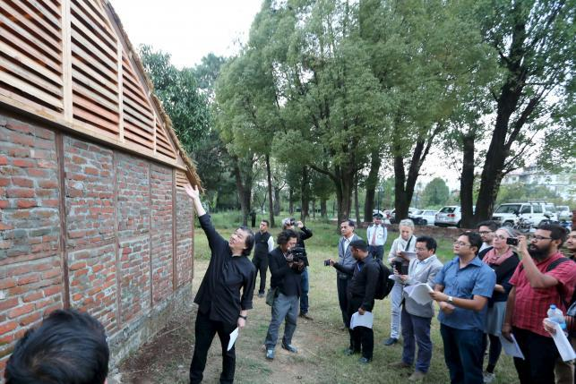 Shigeru Ban presents a Nepal House Project prototype in Kathmandu to the press. (Photo: Reuters/Shigeru Ban Architects)