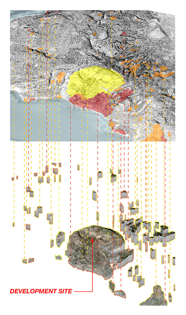 Selecting sites of intervention comes from an analysis of a landslide inventory map. Certain areas of landslide activity within Palos Verdes Peninsula are currently closed to any future development or building alterations. These areas will become sites for deployment of the new GROUNDING vessels.