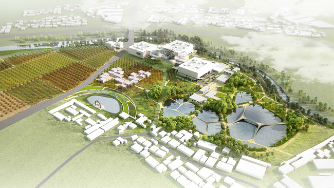 A bird-eye rendering of the Pingdi Low Carbon Campus in Shenzhen. Credit: Open Fabric