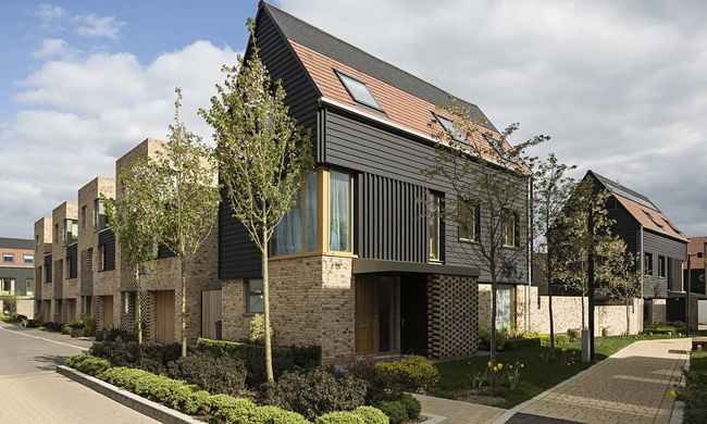 Abode's housing development in Great Kneighton, near Cambridge. Photograph: Tim Crocker. Image via theguardian.com.