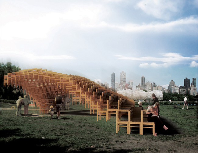 Competition-winning pavilion concept for this year's Freedom Park Project at Atlanta: SEAT by E/B Office (Image: E/B Office)