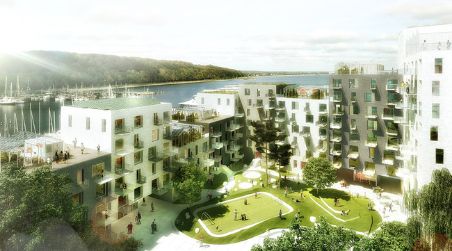 Common greenhouses on the rooftops and green courtyard (Image: ADEPT/LUPLAU & POULSEN)