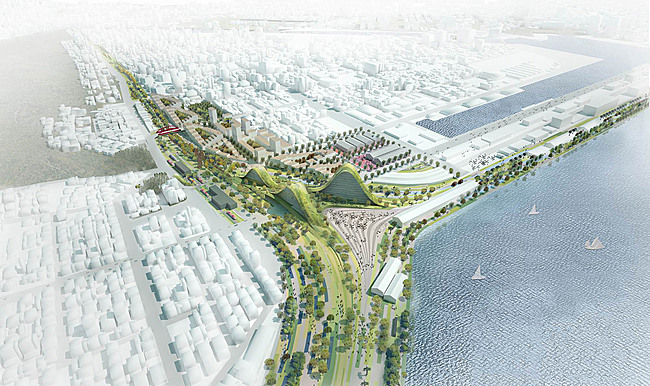 Aerial view of the competition-winning Kaohsiung Port Station concept by De Architekten Cie. (Image: De Architekten Cie.)