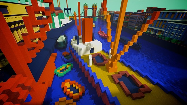 """The Minecraft version of André Derain """"The Pool of London."""" Credits: Tate World"""