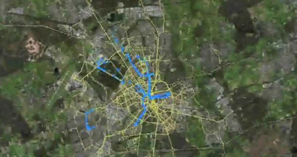 A system from IBM and NXP Semiconductors gathers sensor data from cars in the city of Eindhoven in the Netherlands. One result is that city planners get a real-time view of where rain is falling. (Credit: screenshot by Stephen Shankland/CNET)