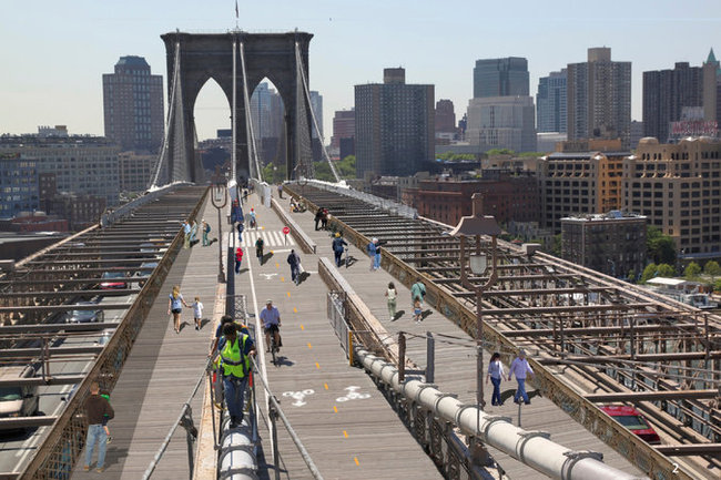 A rendering of one possibility to expand the bridge's pedestrian and bike lanes. Image: New York City Department of Transportation.