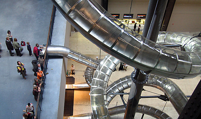 Carsten Höller's Double Slide at the Museum of Contemporary Art, Zagreb.