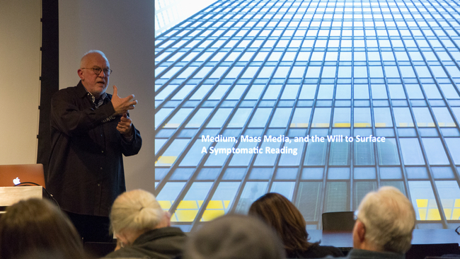 K. Michael Hays speaking in Betts Auditorium. Image: Daniel Claro via Princeton University School of Architecture.
