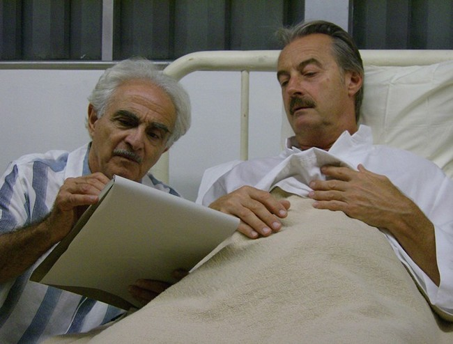 Raymond Xifo, left, as Neutra and John Nielsen as Schindler. Image via laweekly.com.