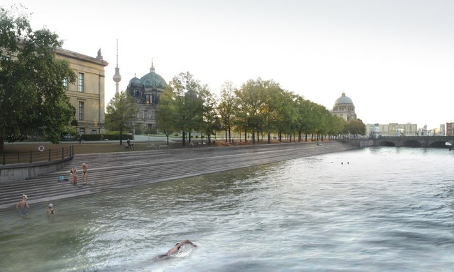 A rendering, based on a photograph by Adrian König, of realities:united's proposal to clean up a stretch of the River Spree in the center of Berlin. Credit: realities:united
