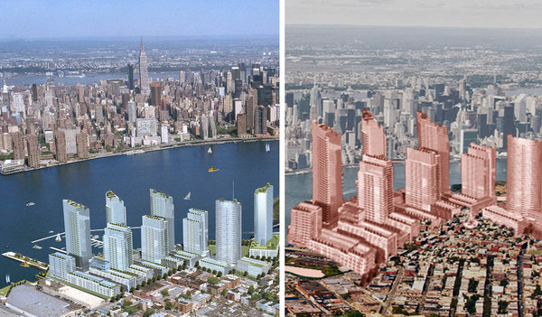 Opposing renderings of the same project. Left, an architectural rendering drawn several years ago for a proposed development in Greenpoint, Brooklyn. Right, a rendering used by a group called Save Greenpoint. (Image: Left, Handel Architects; right, Save Greenpoint)